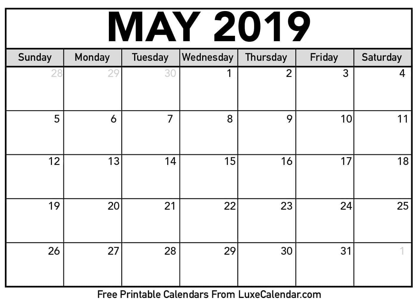 Calendar Printables 2019 Blank May 2019 Printable Calendar Luxe Calendar