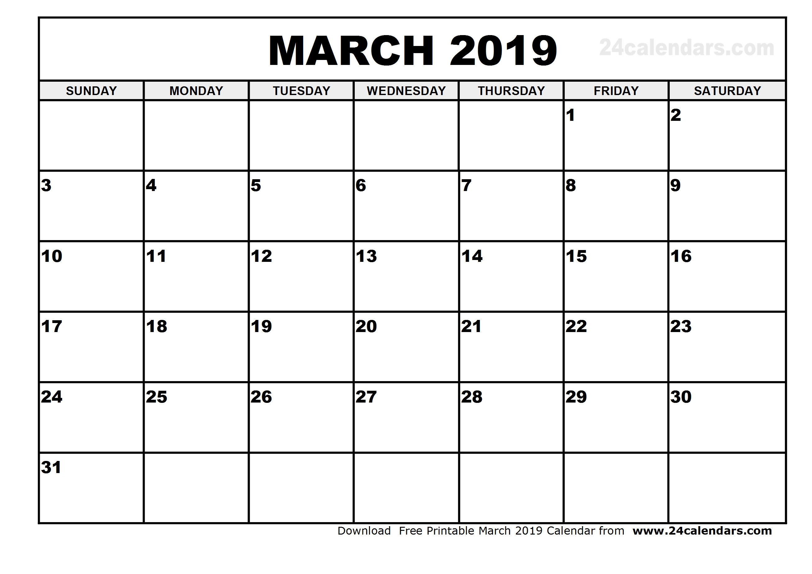 Calendar Template 2019 Printable March 2019 Calendar Template