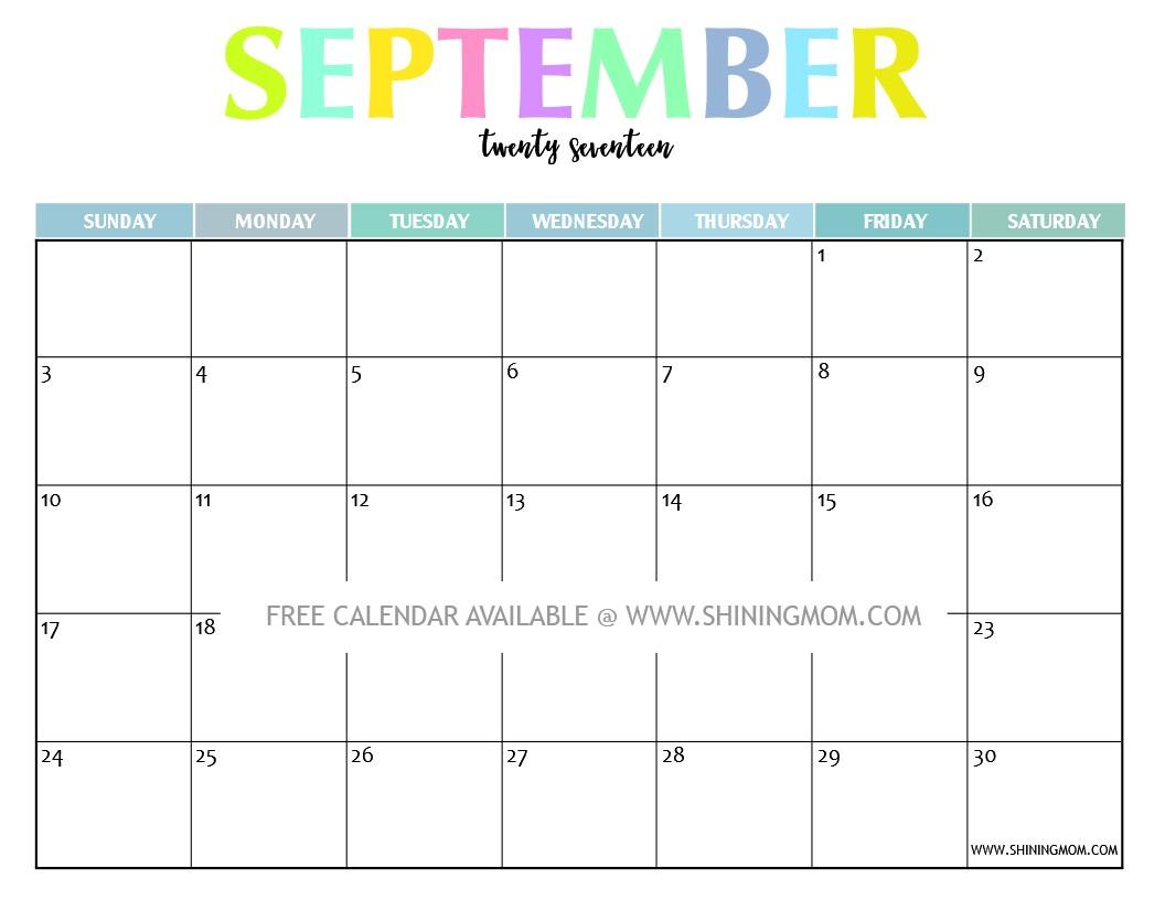 Calendar Template Printable Your Free 2017 Printable Calendar Fun and Colorful