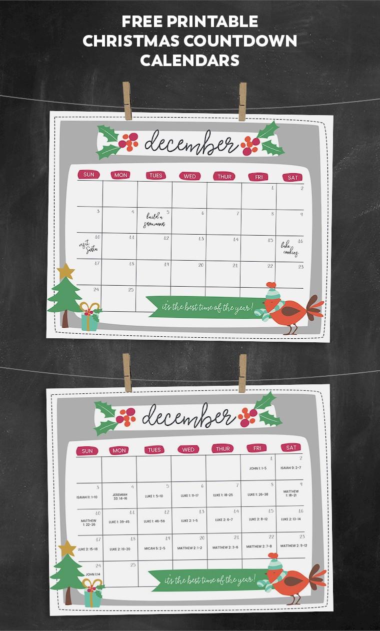 Countdown Calendar Printable Free Printable Christmas Countdown Calendar for December