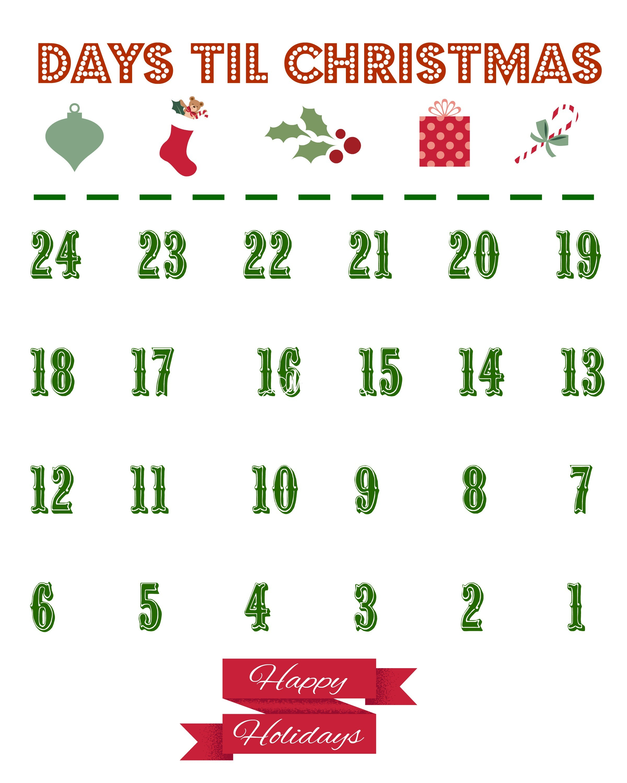 Countdown Calendar Printable Printable Christmas Countdown Calendar the Country Chic