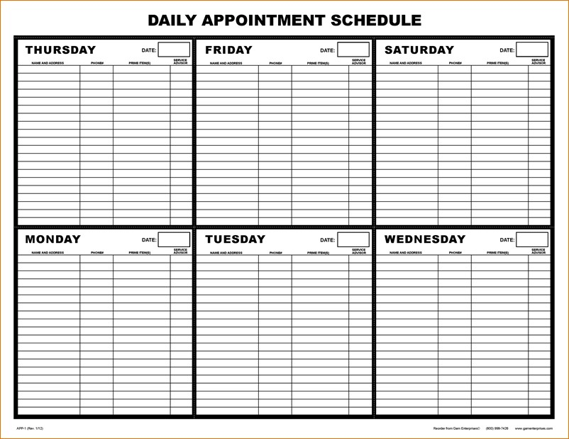 Daily Appointment Calendar Printable Free 5 Printable Appointment Calendar