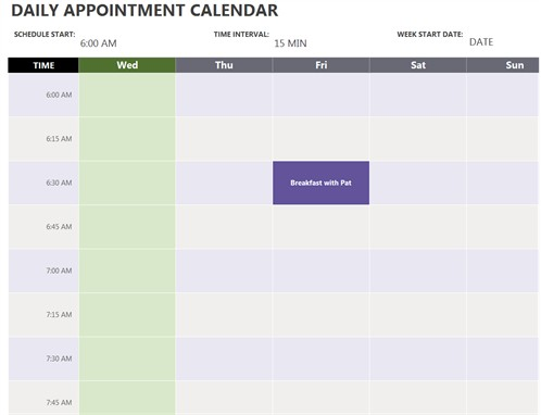 Daily Appointment Calendar Printable Free Daily Appointment Calendar