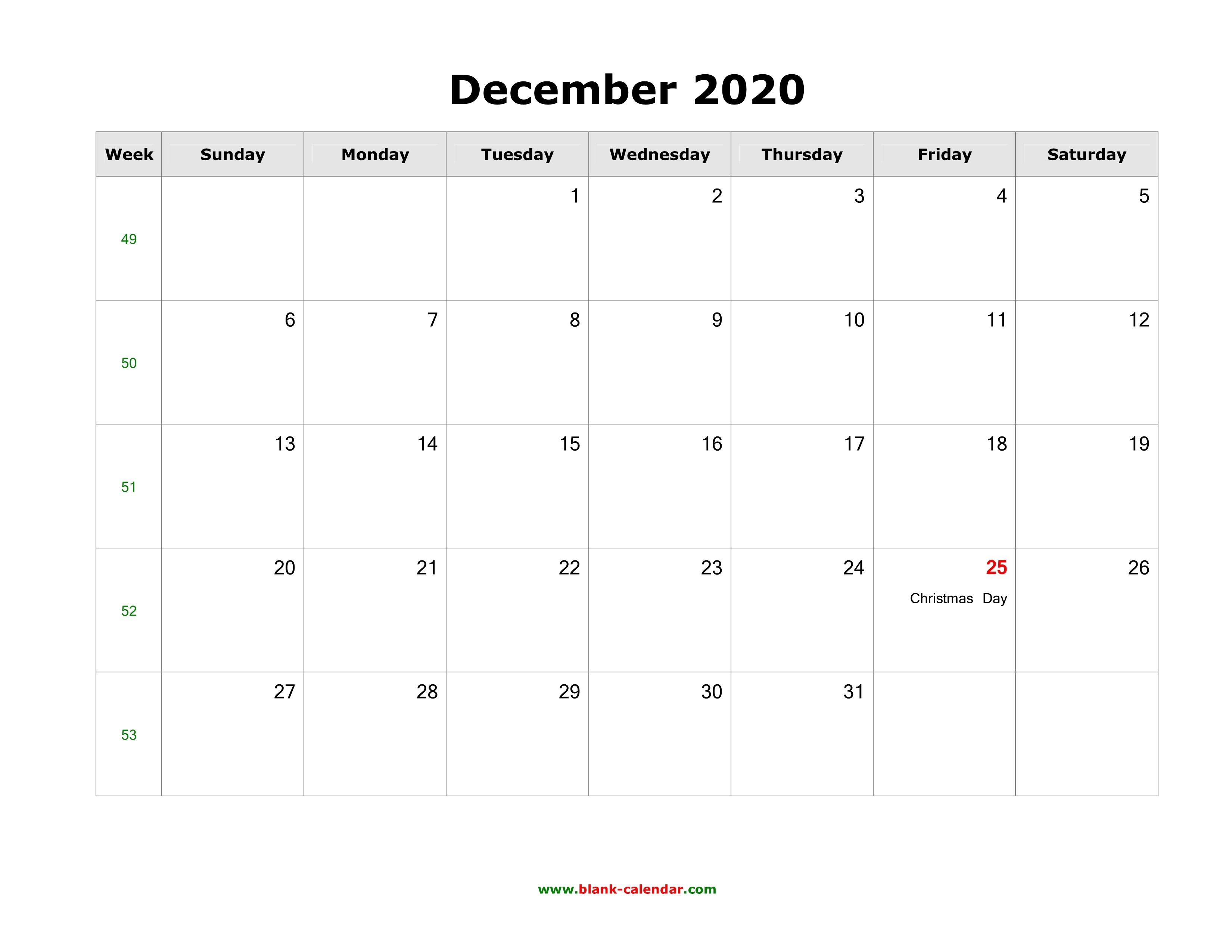 December 2020 Printable Calendar December 2020 Blank Calendar