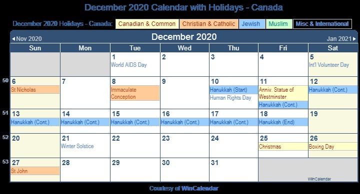 December 2020 Printable Calendar Print Friendly December 2020 Canada Calendar for Printing