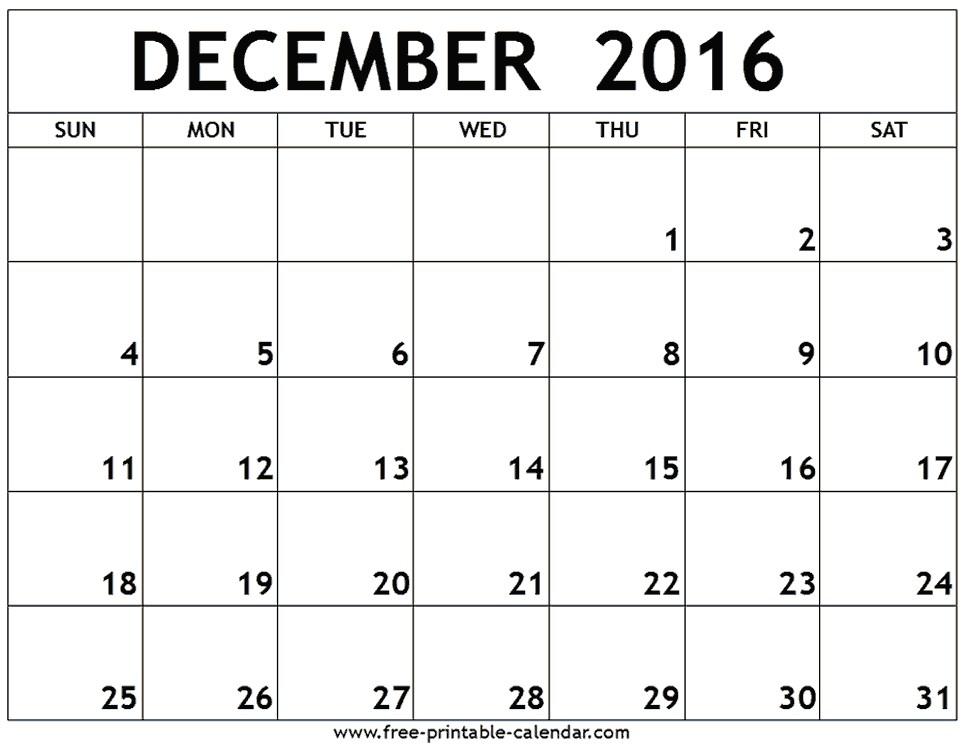 Calendar 2016 October November December
