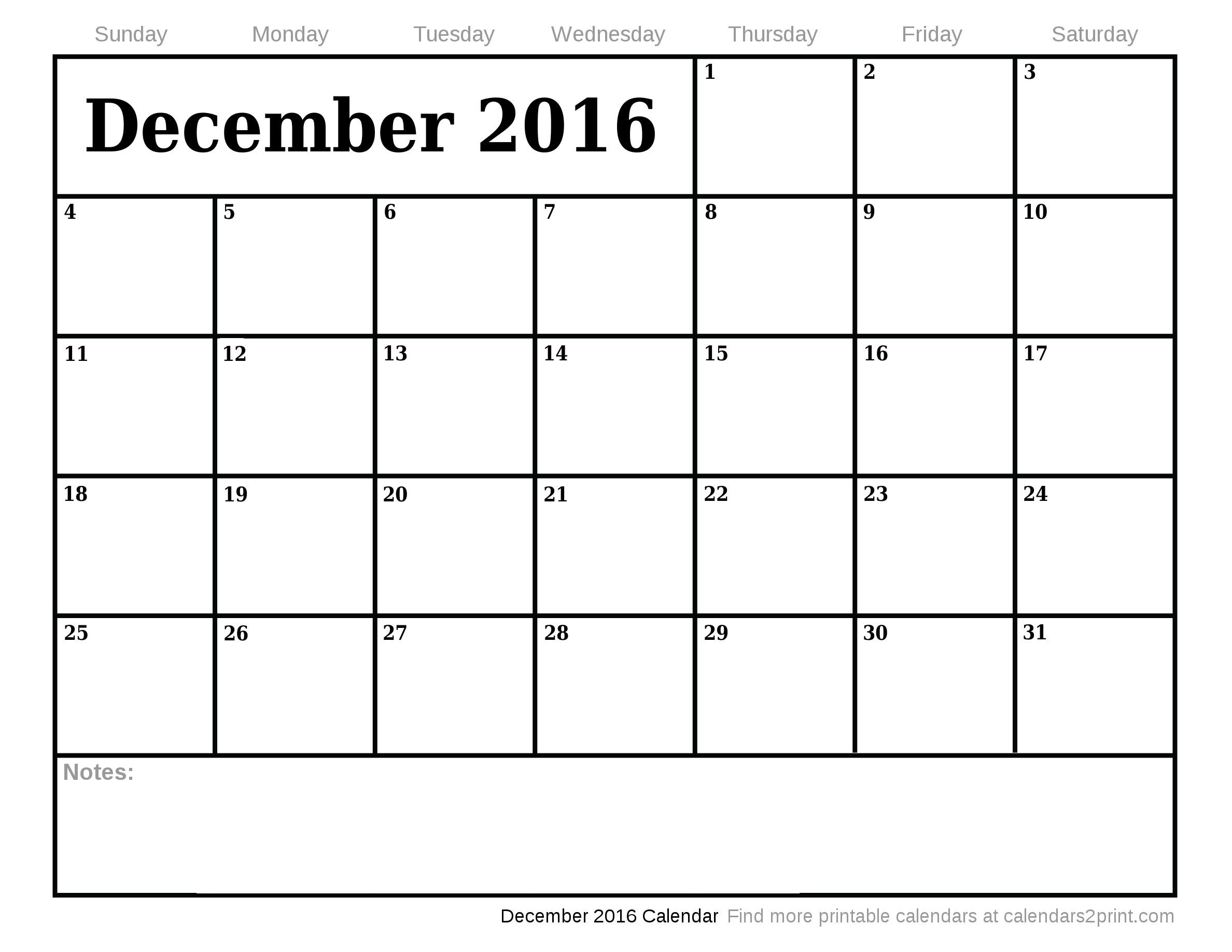 December 2016 Printable Calendar