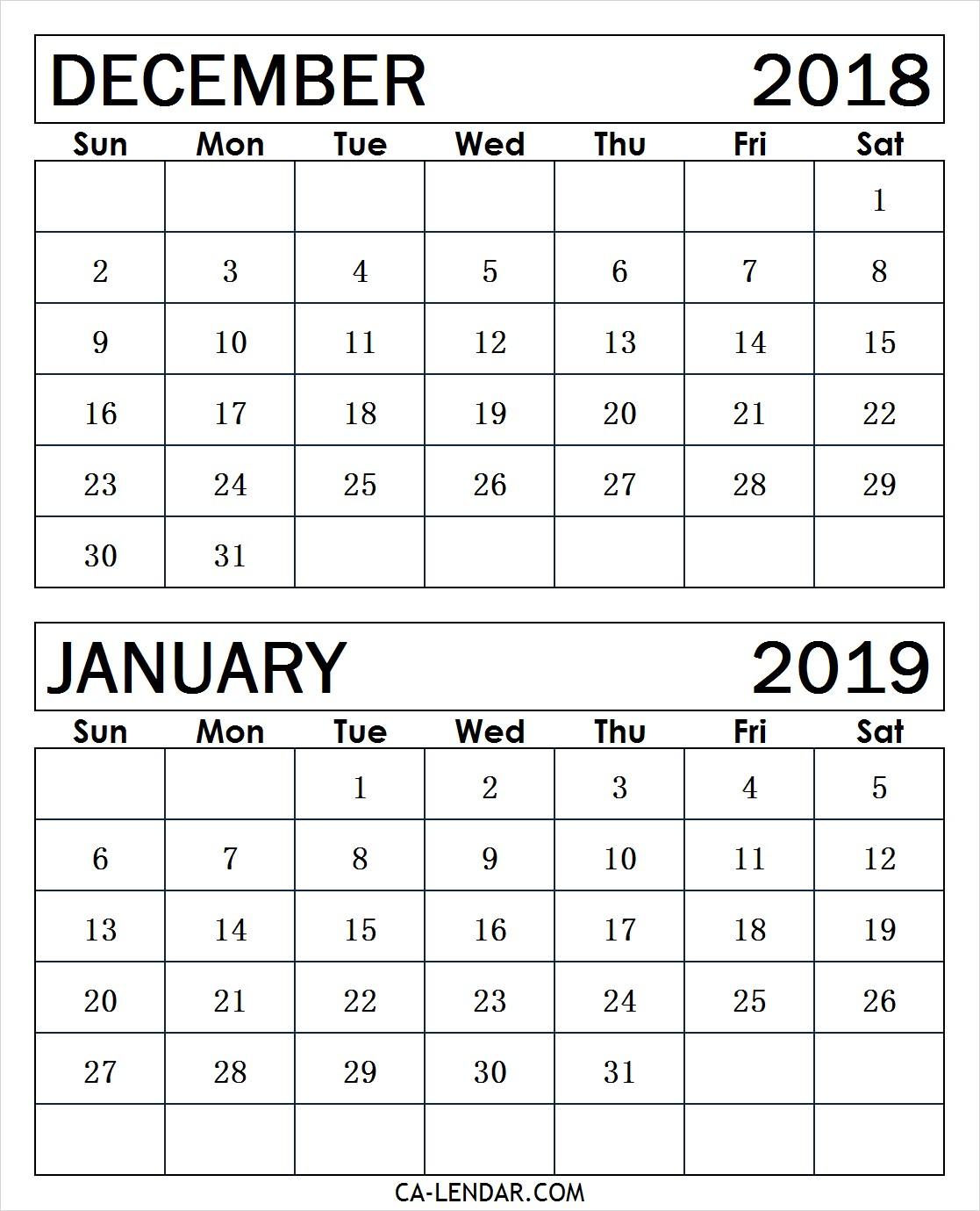 December January Calendar Printable December January Calendar Calendar