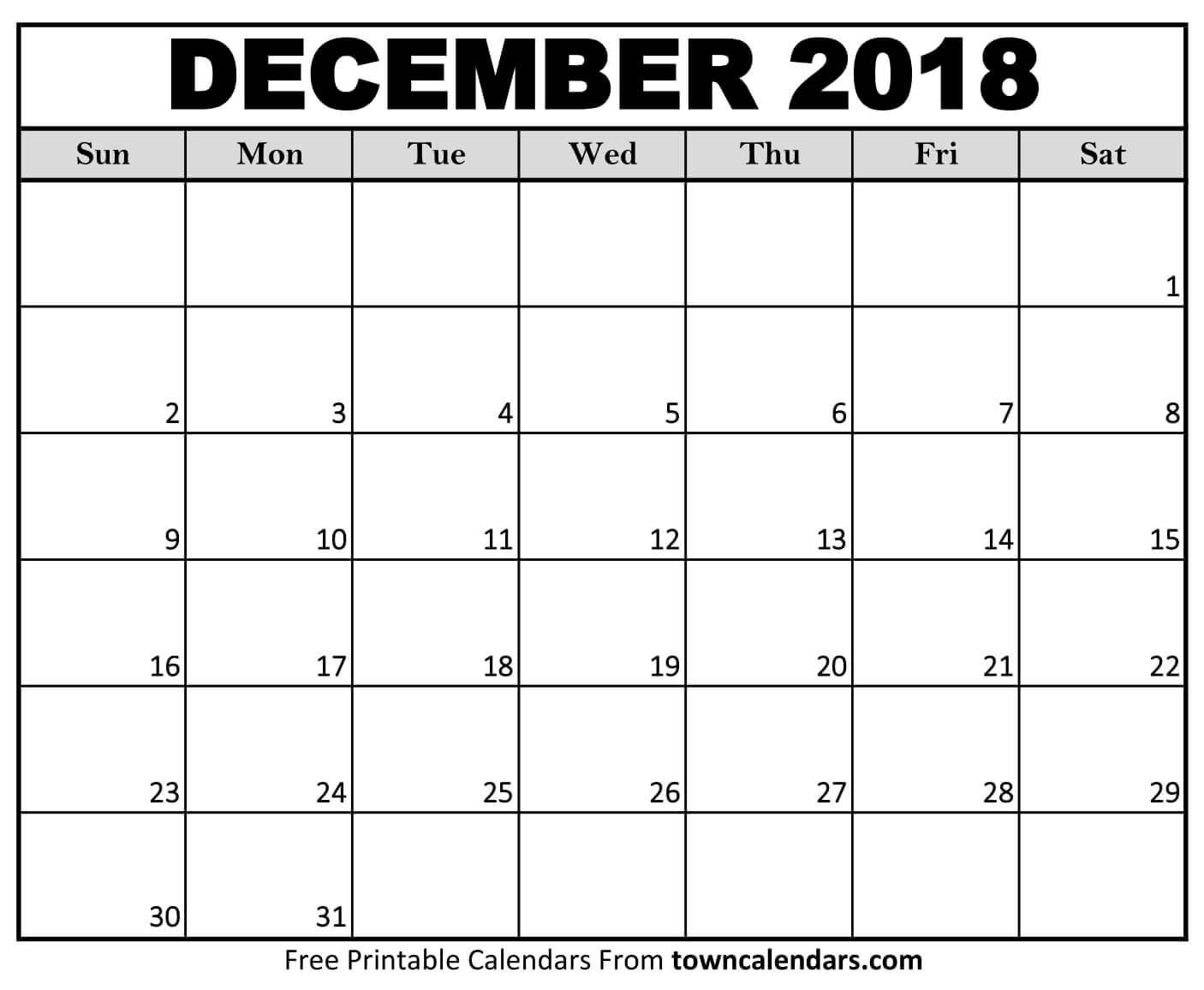 Printable December 2018 Calendar towncalendars