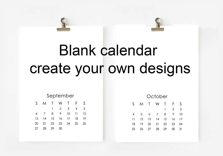 2017 Blank Calendar printable digital file create your own