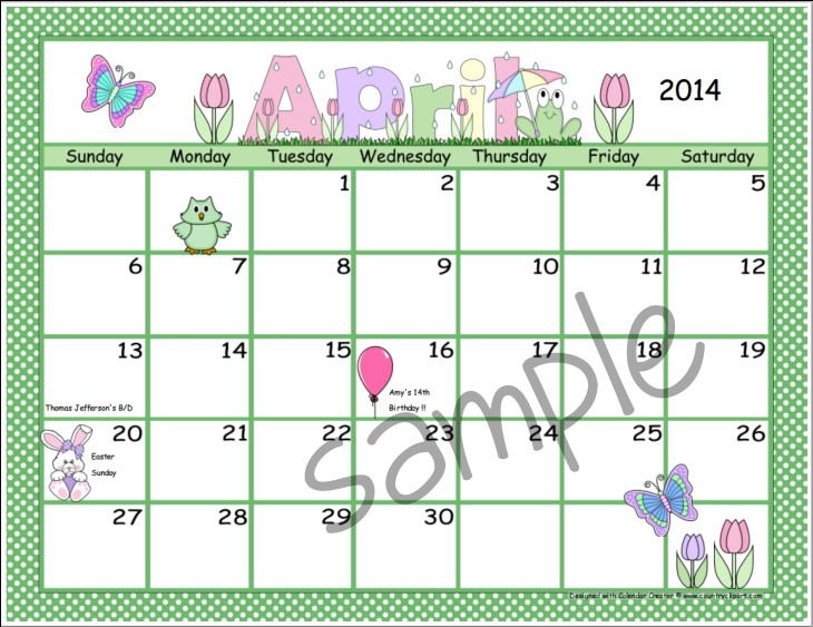 Calendar Creator Make and Print Your Own Calendars