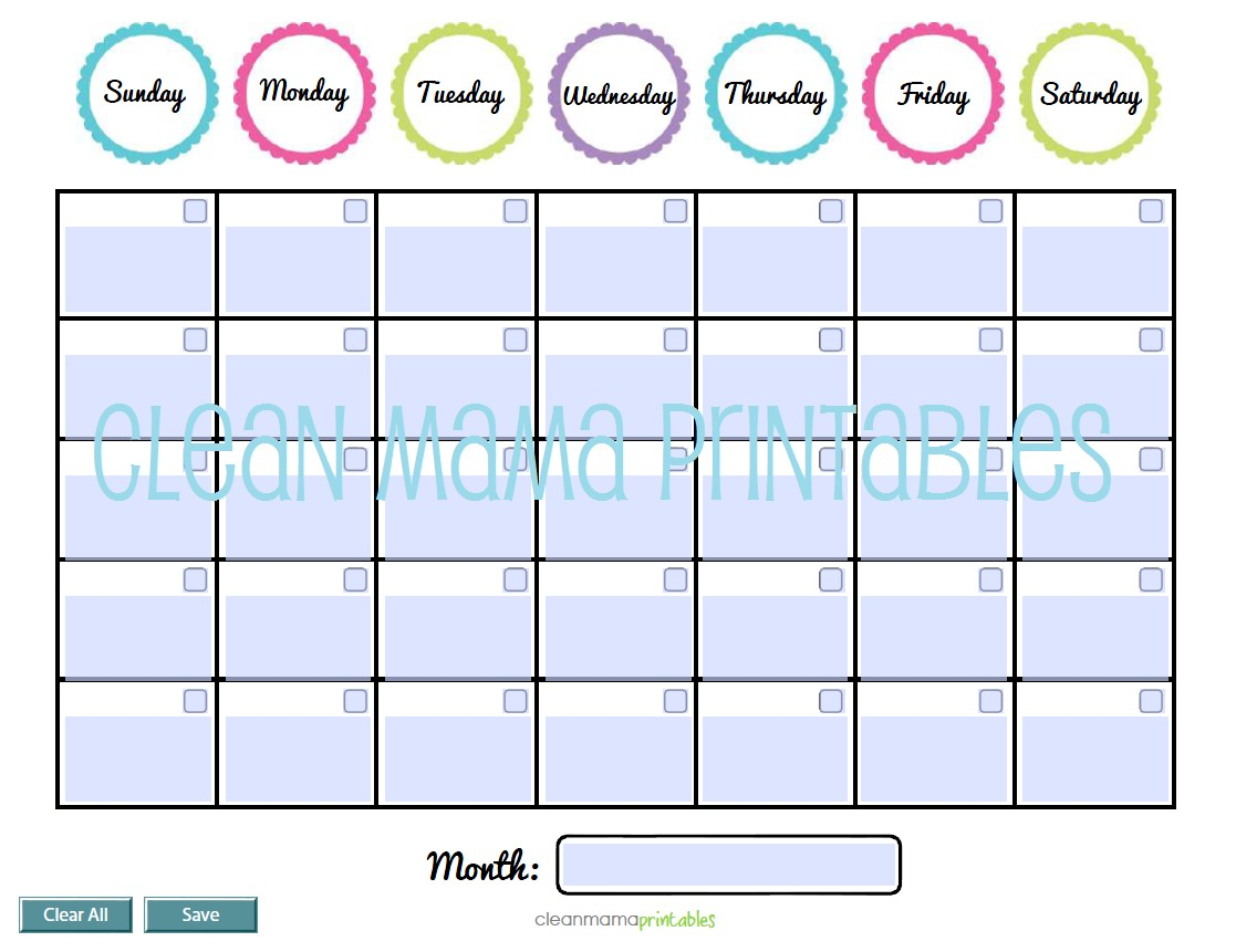 Calendars Clean Mama