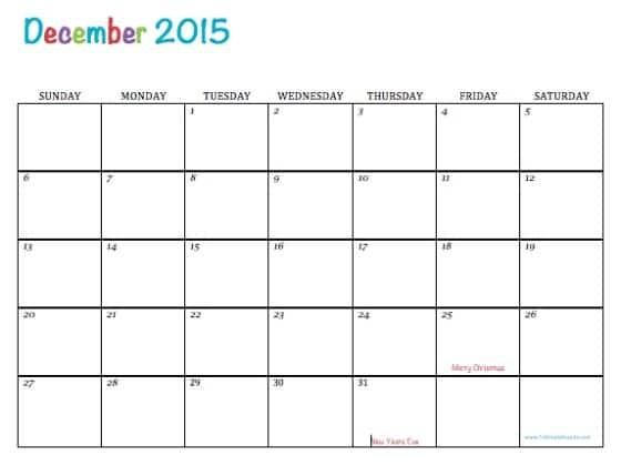 Editable and Printable Calendar Free Printable Calendar December 2015