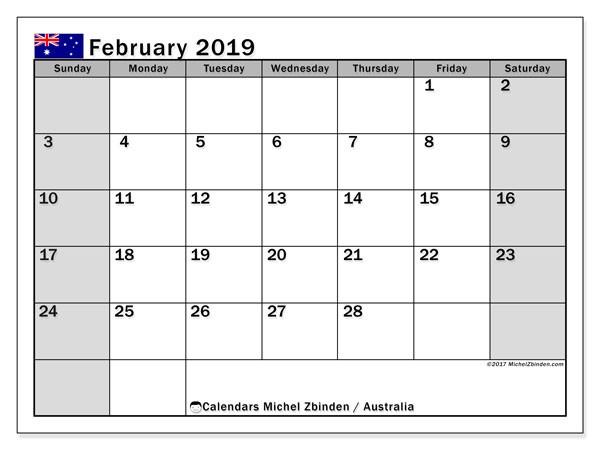 Feb Calendar 2020 Printable Calendar February 2019 Australia Michel Zbinden En