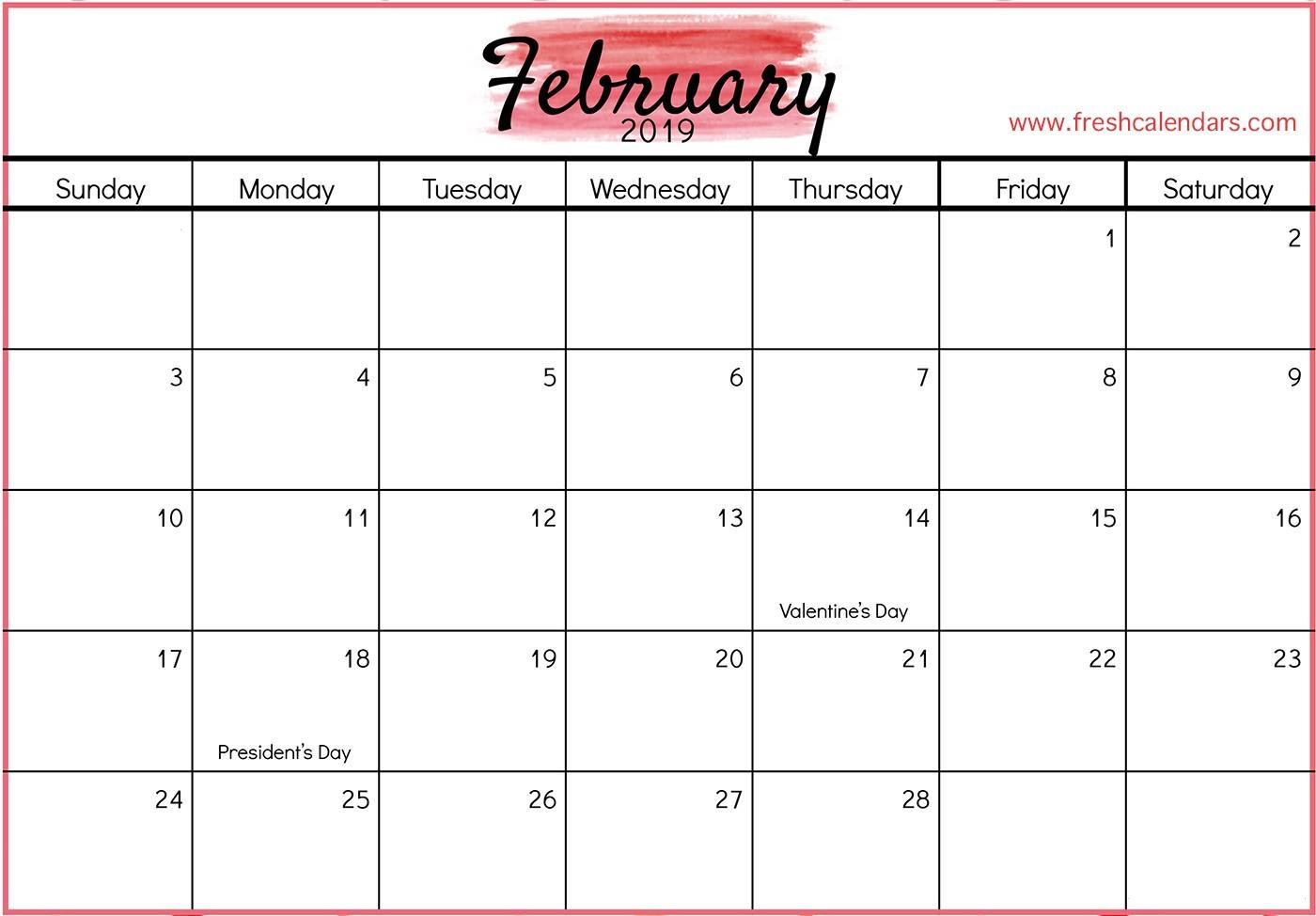 February 2019 Printable Calendar with Holidays