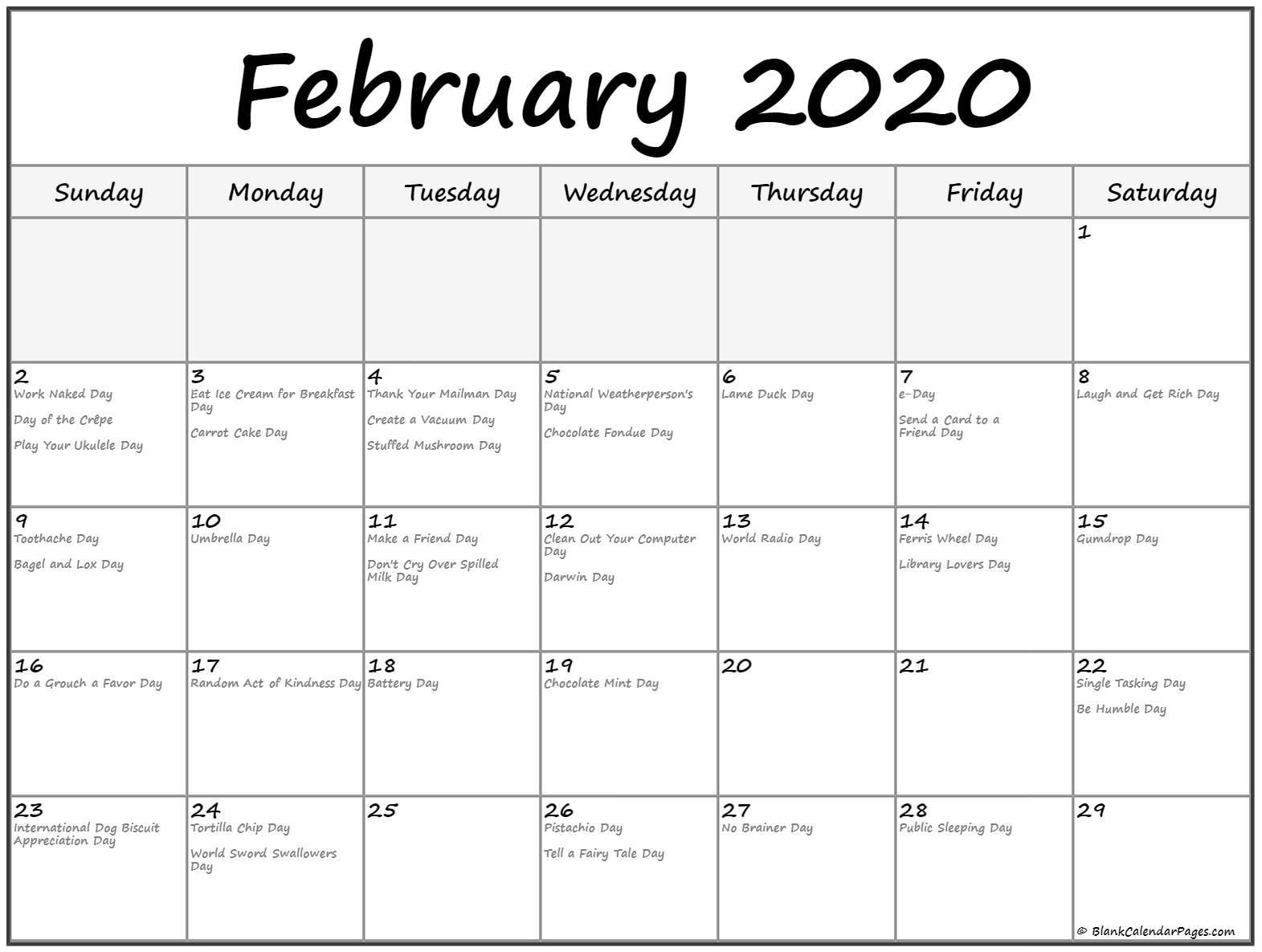 February 2020 Calendar with Holidays Printable Collection Of February 2020 Calendars with Holidays