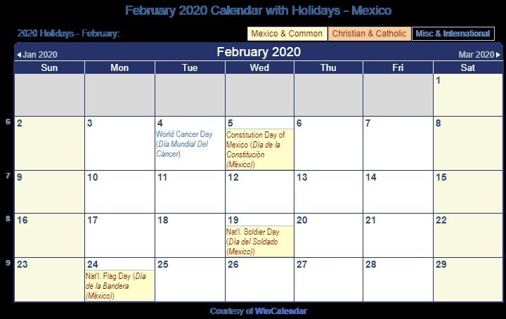 February 2020 Calendar with Holidays Printable Print Friendly February 2020 Mexico Calendar for Printing