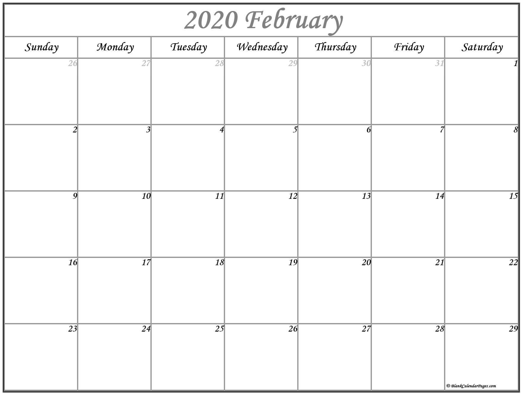 February Calendar Printable 2020 February 2020 Calendar
