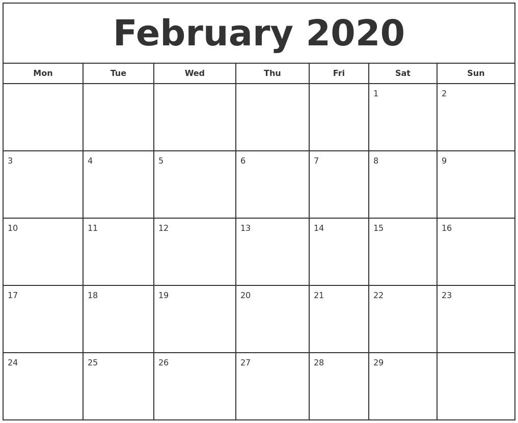 February Calendar Printable 2020