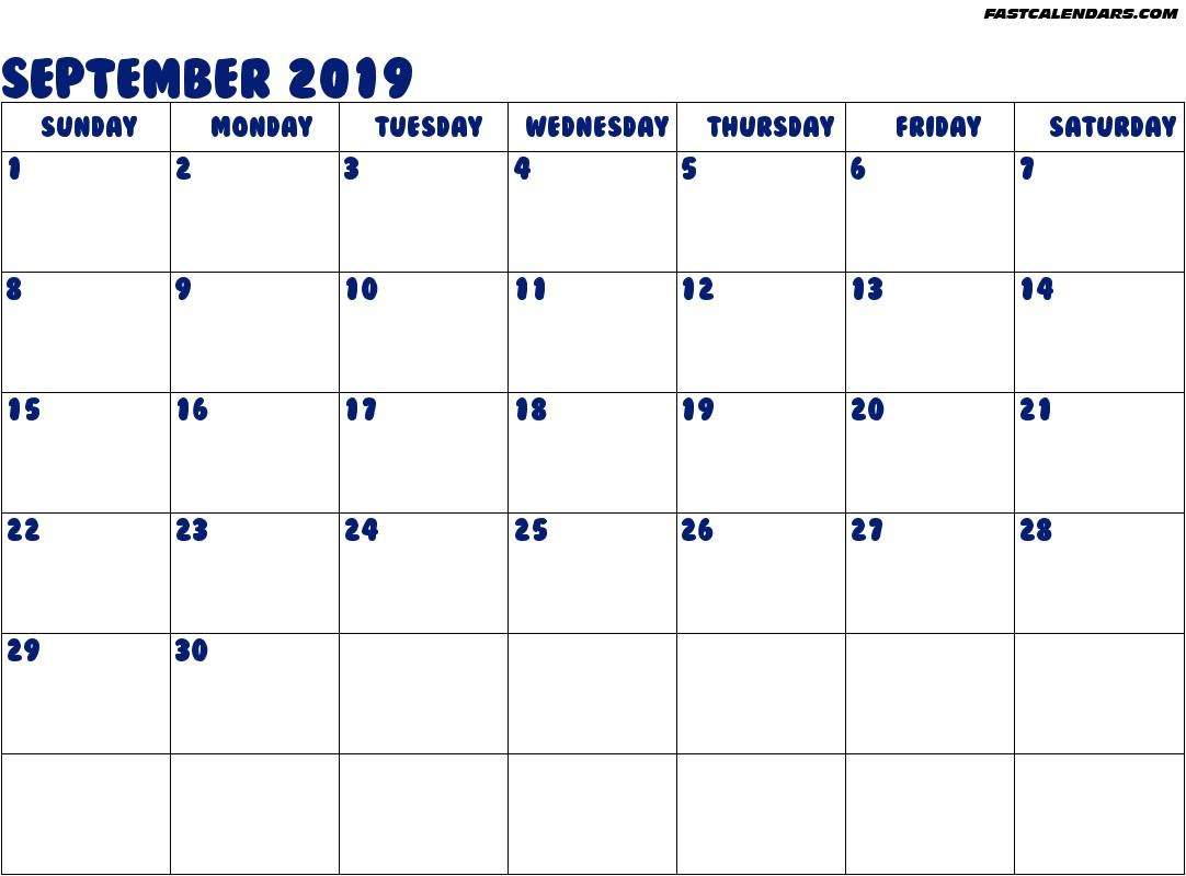 February Calendar Printable 2020 September 2019 Printable Calendar