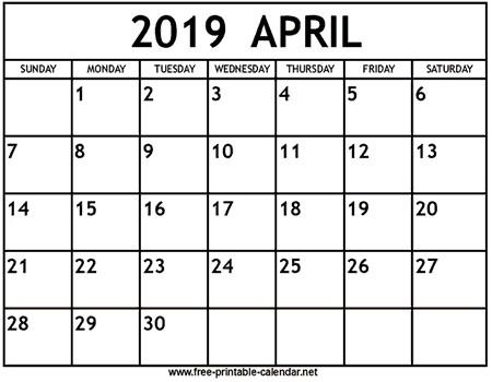 Free 2019 and 2019 Calendar Printable April 2019 Calendar Print Calendar From Free Printable