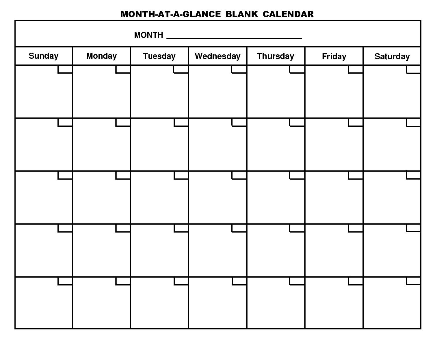Printable Blank Calendar Template … Organizing