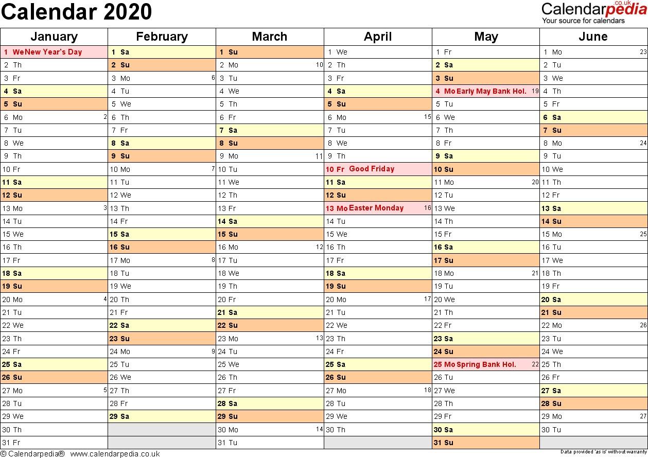 Free Calendar 2020 Printable Calendar 2020 Uk 16 Free Printable Word Templates