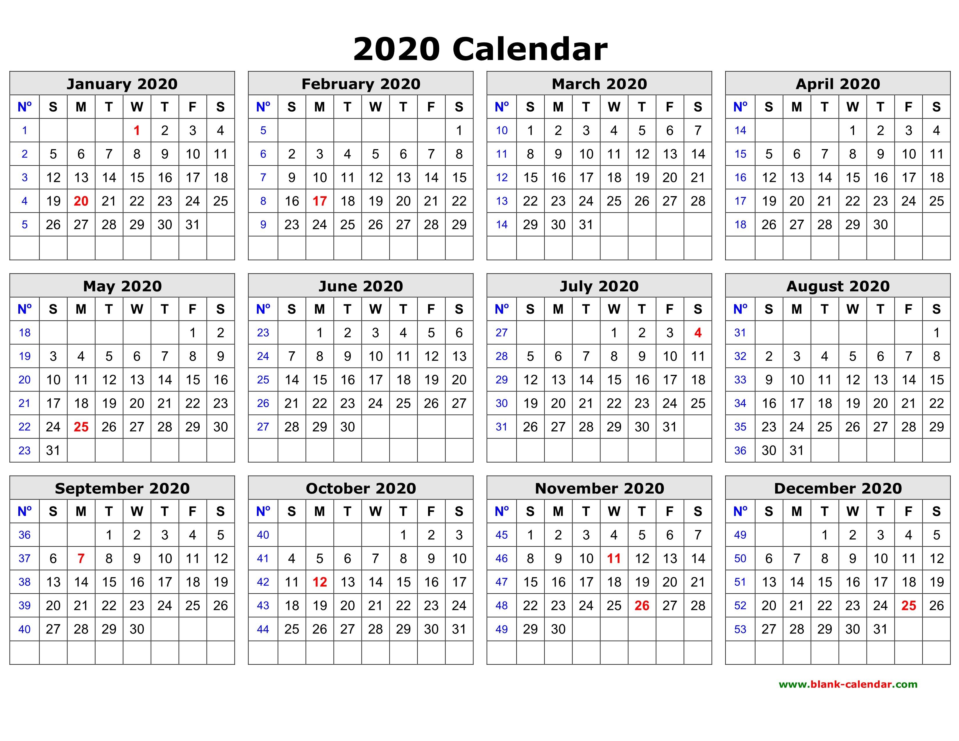 Free Calendar 2020 Printable Free Download Printable Calendar 2020 In One Page Clean