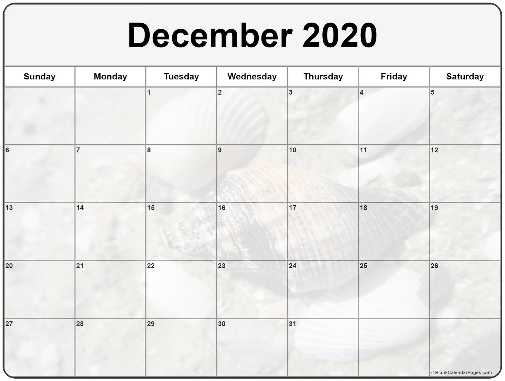 Collection of December 2020 photo calendars with image
