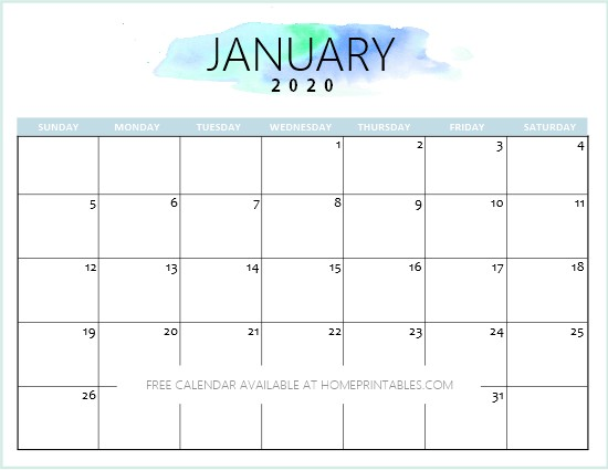 Free 2020 Calendar Printable Simple and Very Pretty