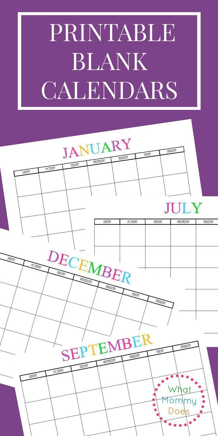 Free Printable Blank Monthly Calendars 2017 2018 2019