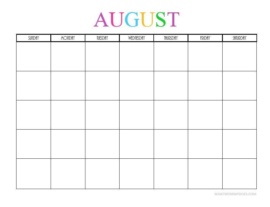 Free Printable Blank Monthly Calendars 2018 2019 2020