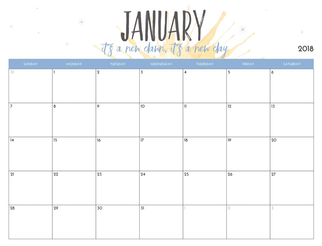 Free Month Calendar Printable Free Printable 2018 Monthly Calendar