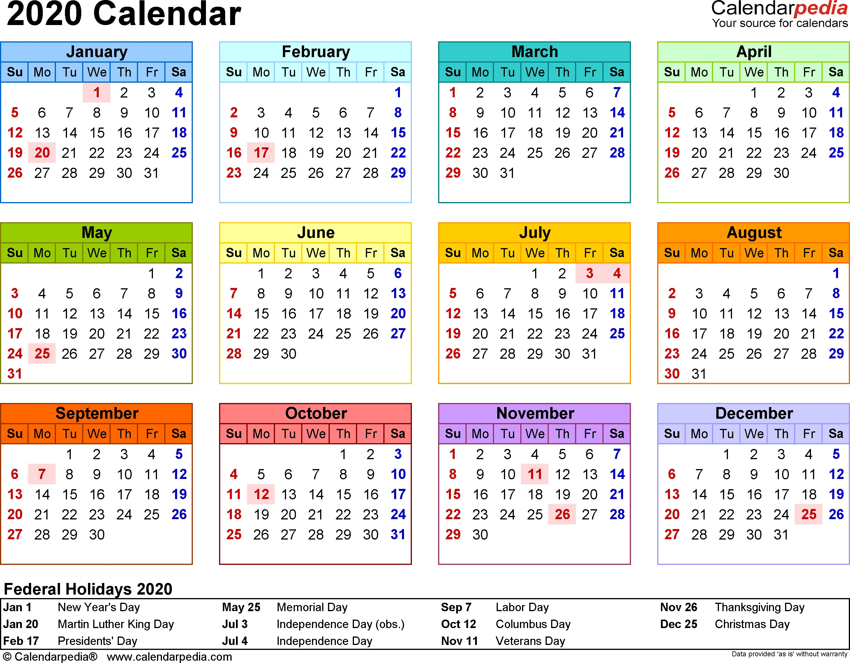 Free Online Printable Calendar 2020 2020 Calendar Download 17 Free Printable Excel Templates