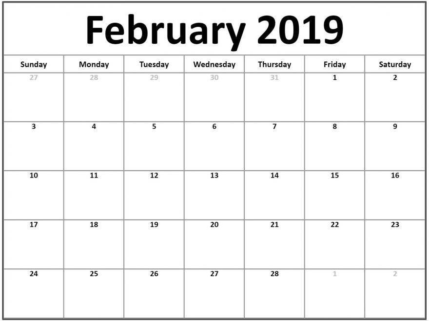 Free Printable Blank Calendars 2019 Blank February 2019 Calendar Printable – Free Printable