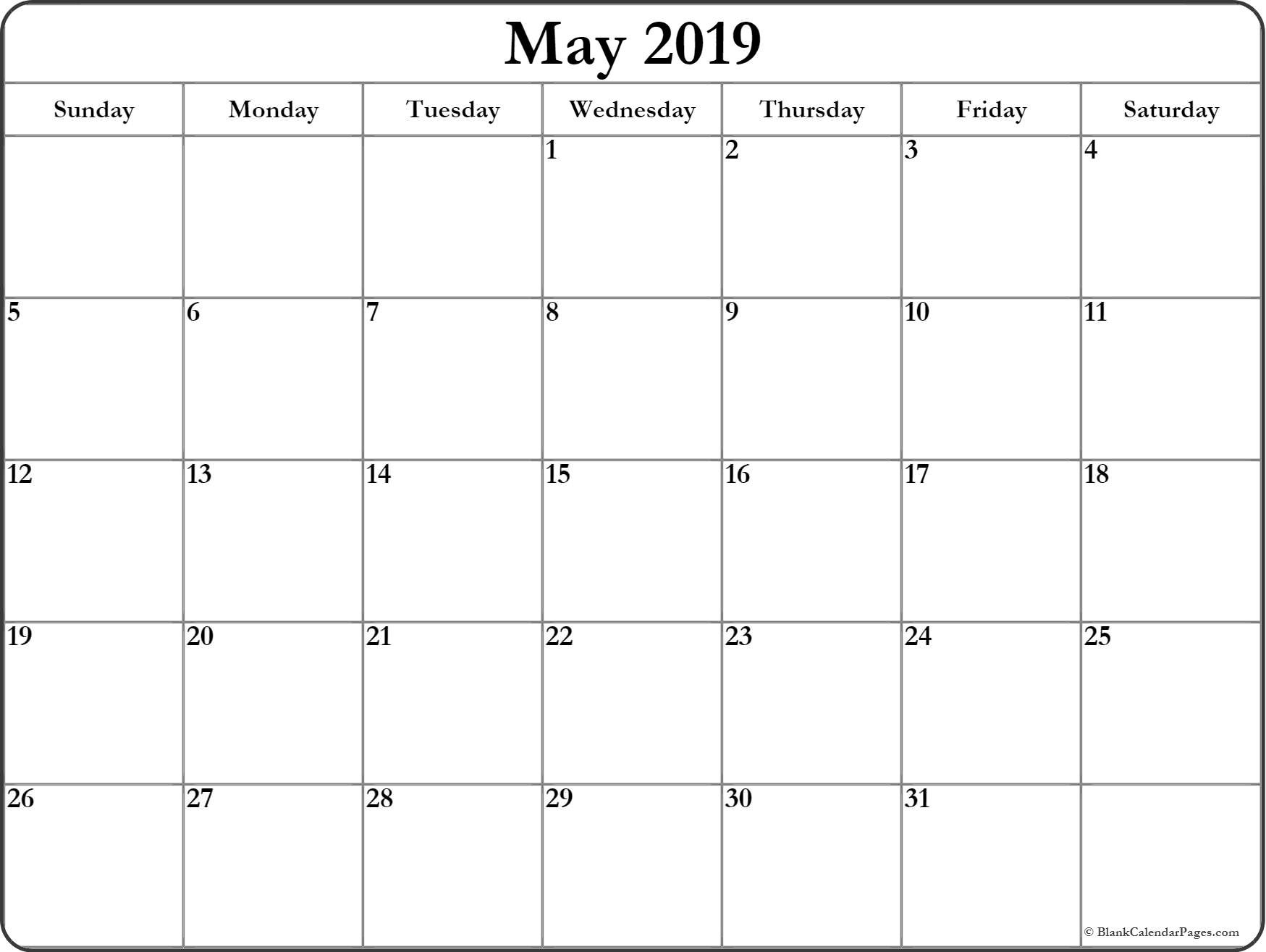 Free Printable Blank Calendars 2019