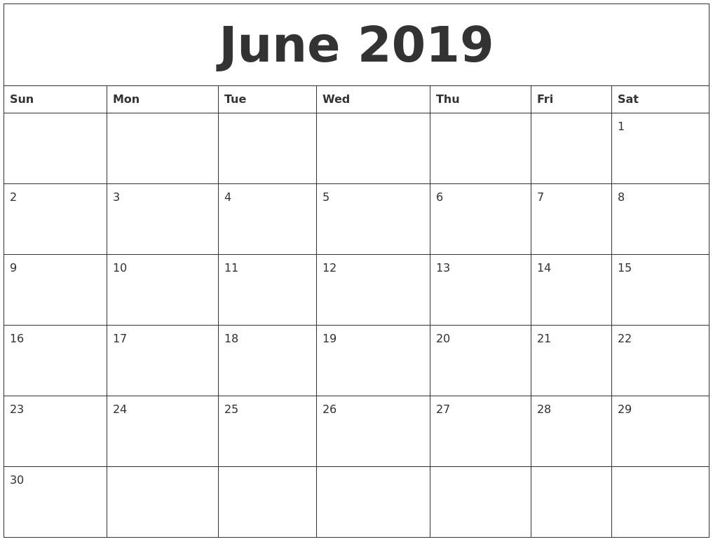 Free Printable Blank Calendars 2019 September 2019 Free Blank Calendar Template
