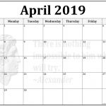 Free Printable Blank Monthly Calendar 2019 April 2019 Calendar