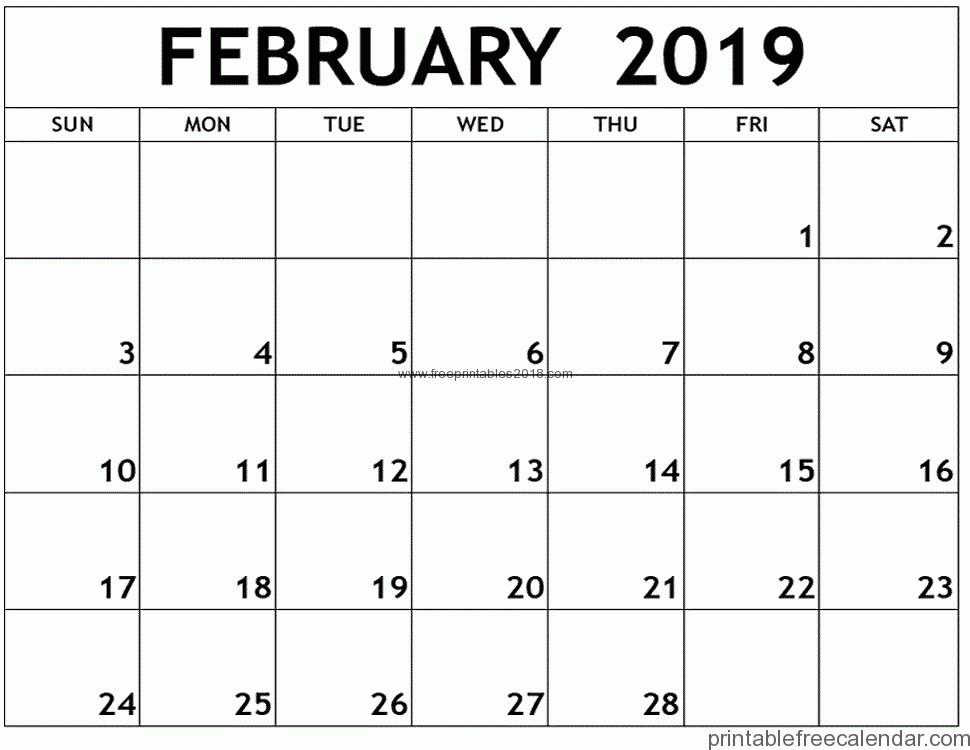Free Printable Calendar 2019 February