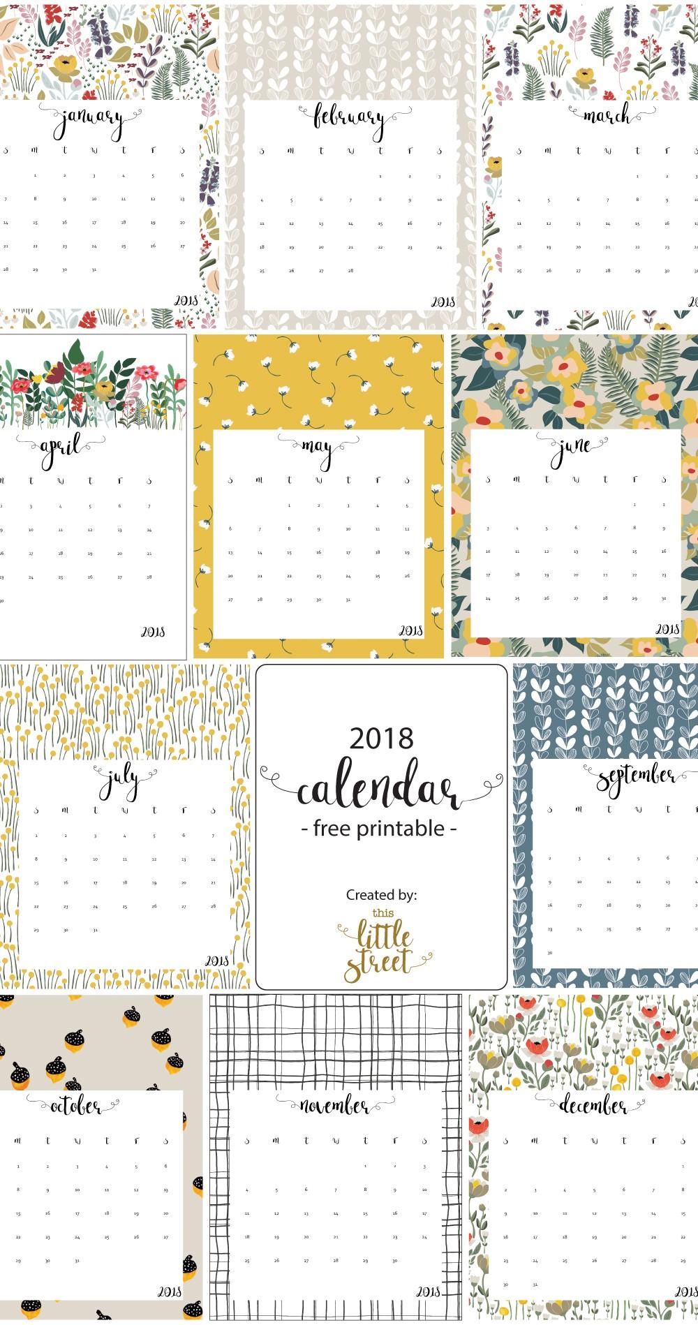 Free Printable Calendar Com 2018 Calendar Free Printable