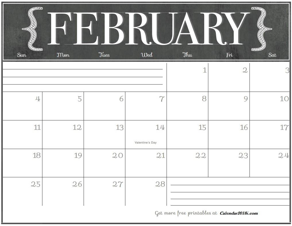 Free Printable Calendar Com Free February 2018 Wall Calendar