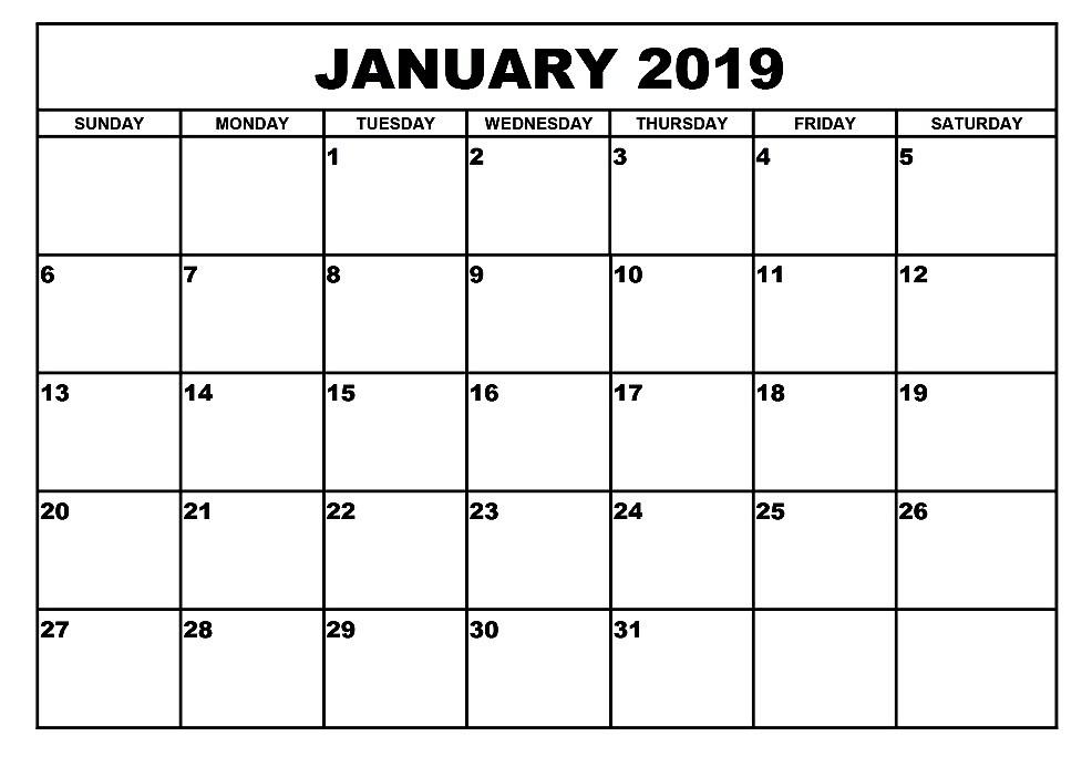 Get January 2019 Calendar A4