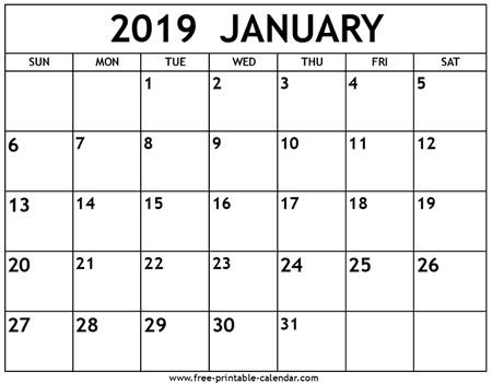 Free Printable Calendar January 2019 January 2019 Calendar Free Printable Calendar
