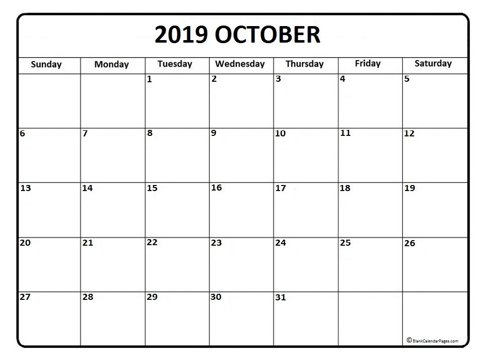 Free Printable Calendar Oct 2019