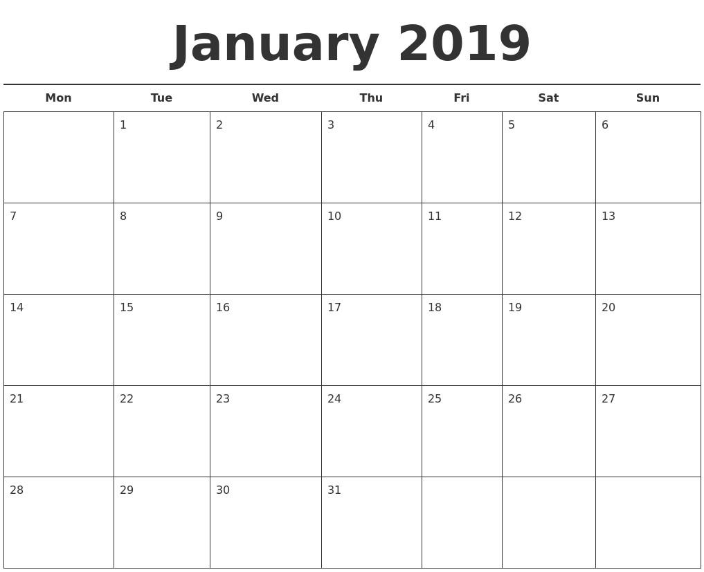 January 2019 Free Calendar Template