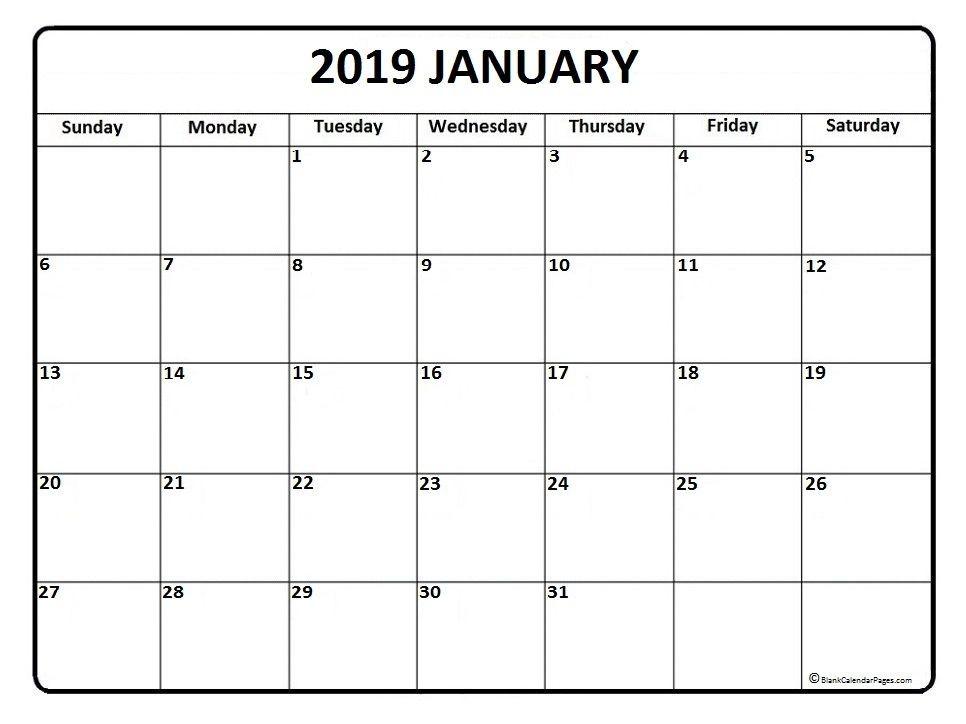 Free Printable Calendar Templates 2019 January Calendar Printable January Calendar 2019