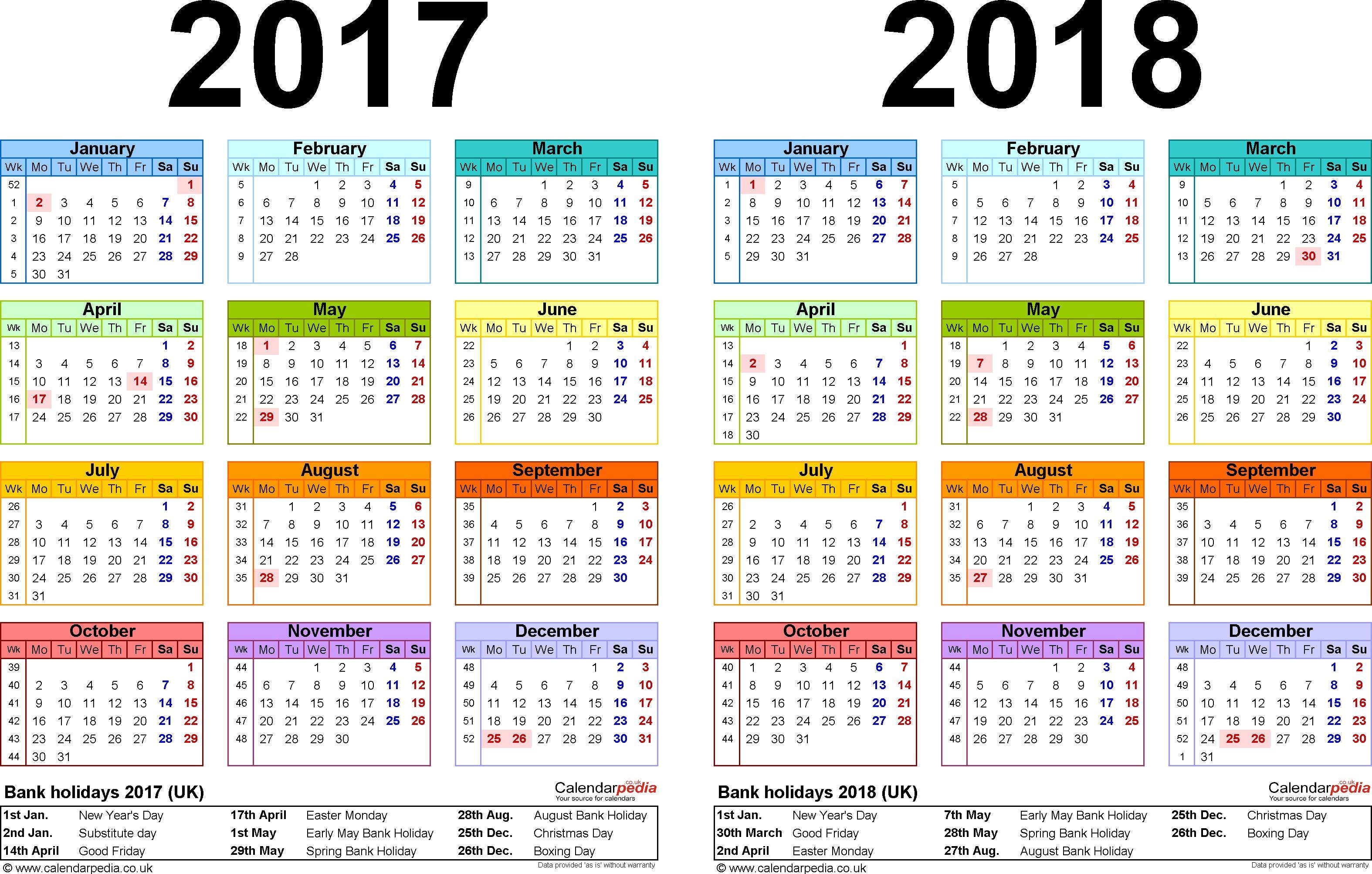 Free Printable Calendar Uk 2018 Calendar Uk