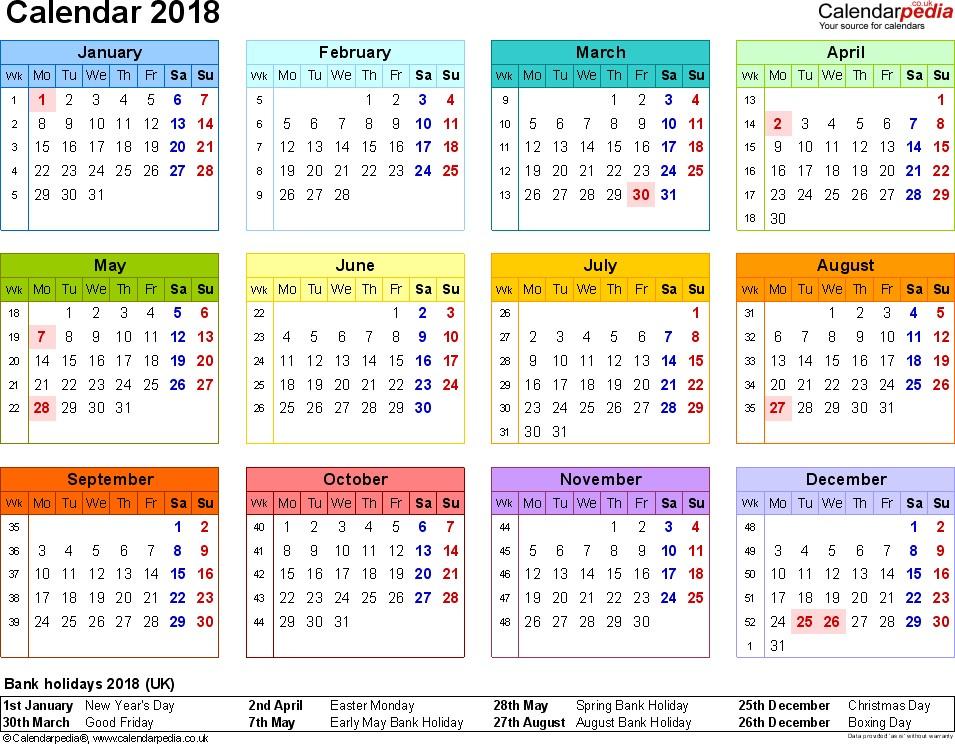 2018 Calendar Uk
