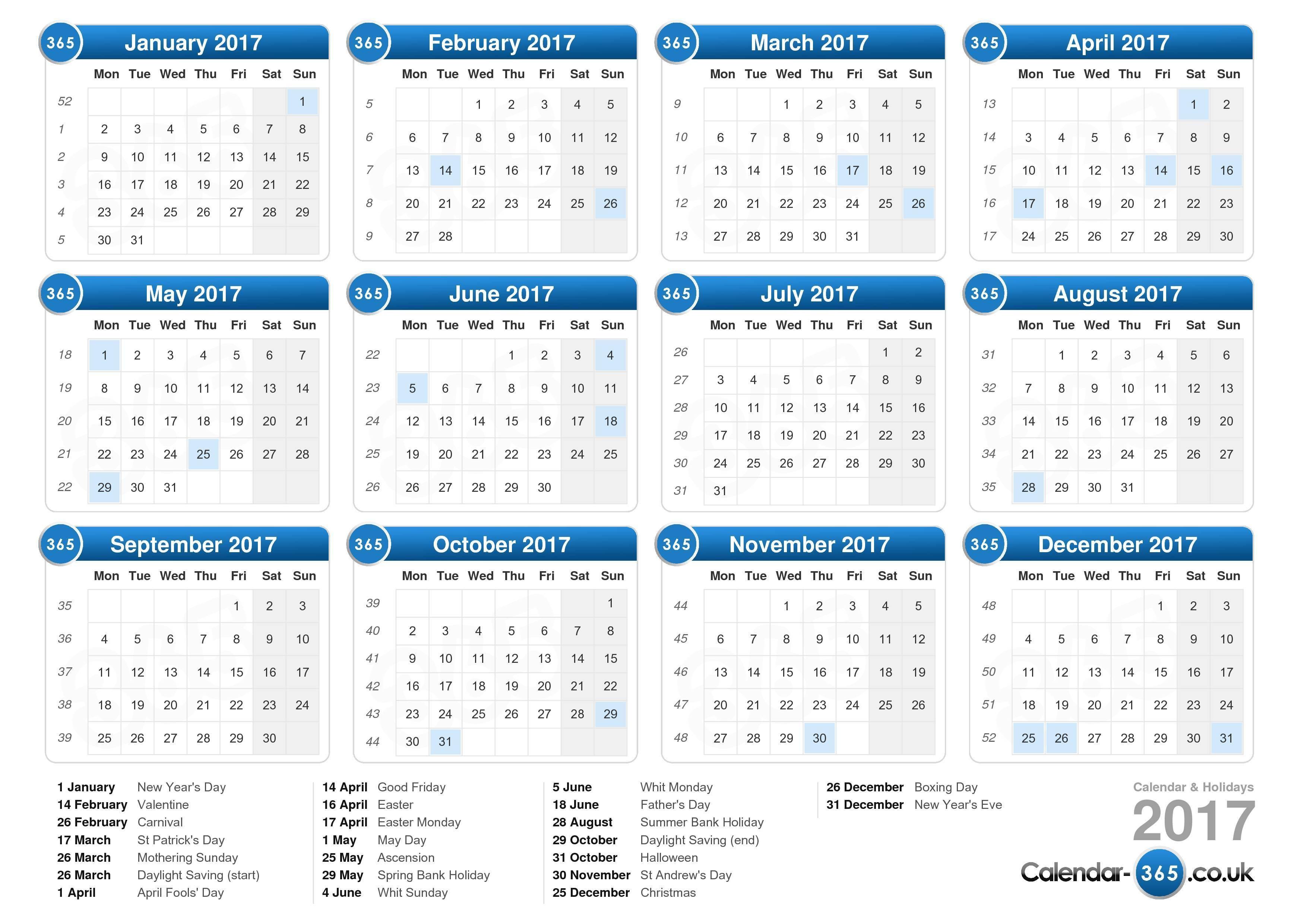 Free Printable Calendar Uk