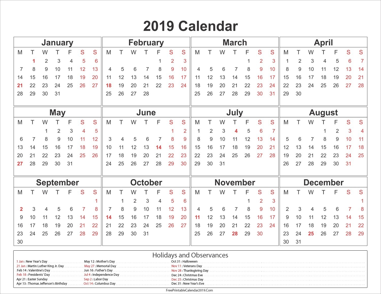 Free Printable Calendar 2019 Uk Printable Calendar 2019